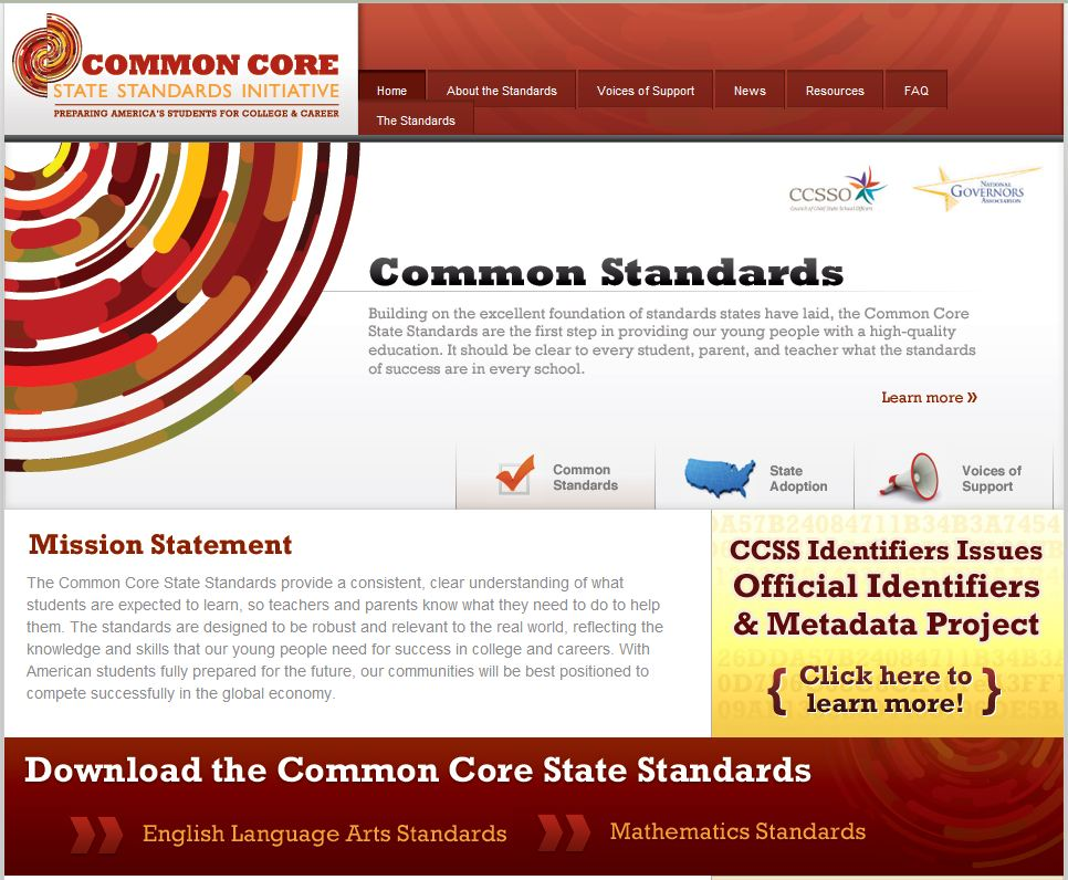 Common Core State Standards Homepage