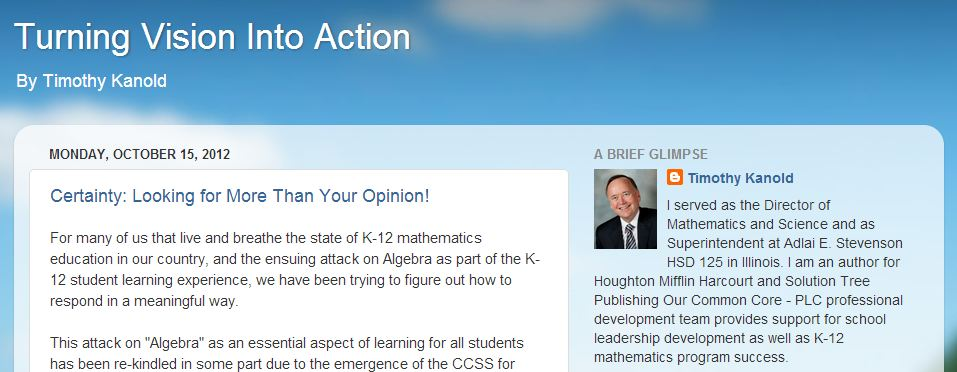 Timothy Kanold is a past president of NCSM and author of some awesome new Common Core Math resources.